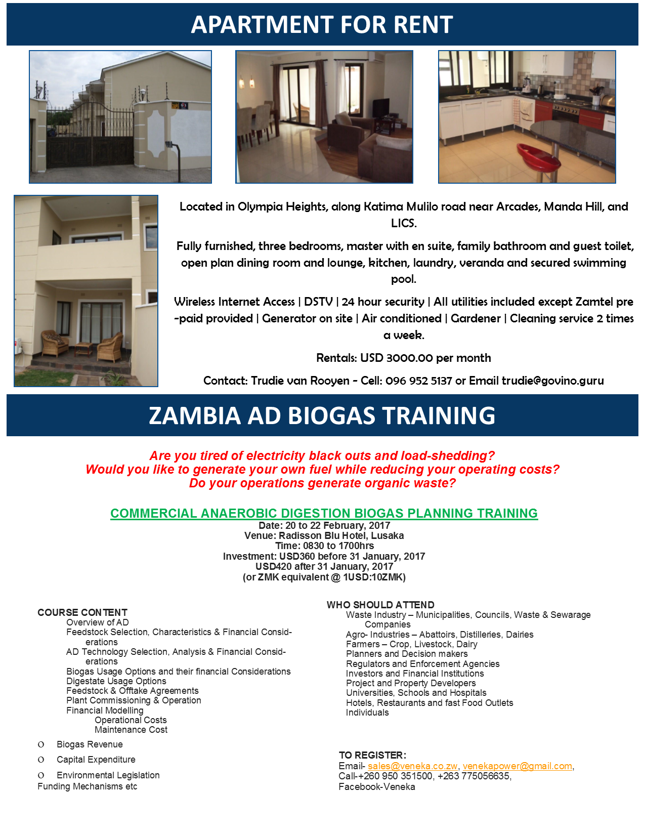 20 01 2017 - APARTMENT FOR RENT / ZAMBIA AD BIOGAS TRAINING