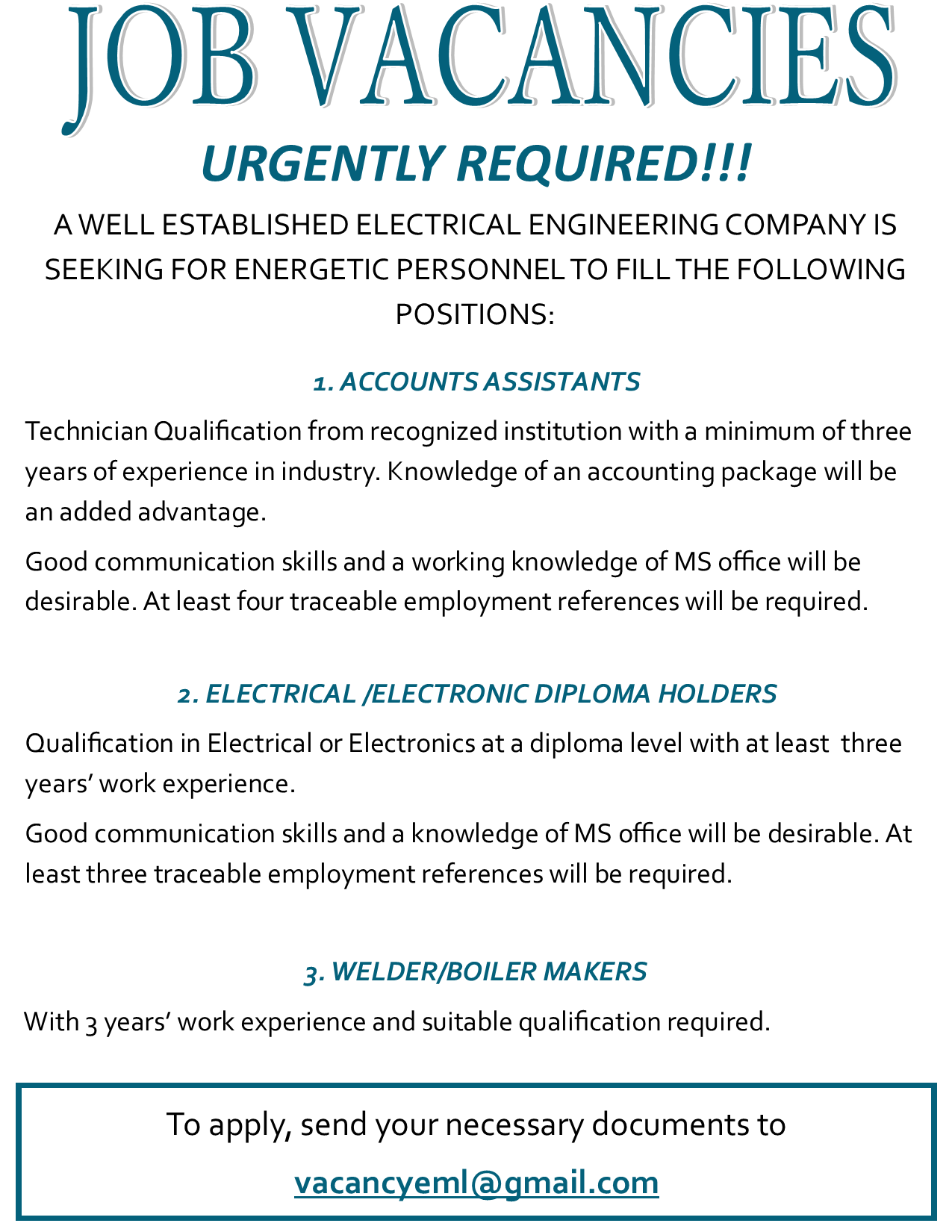 09 05 2017 - JOB VACANCIES » Ad-dicts Ads! Zambia - In your