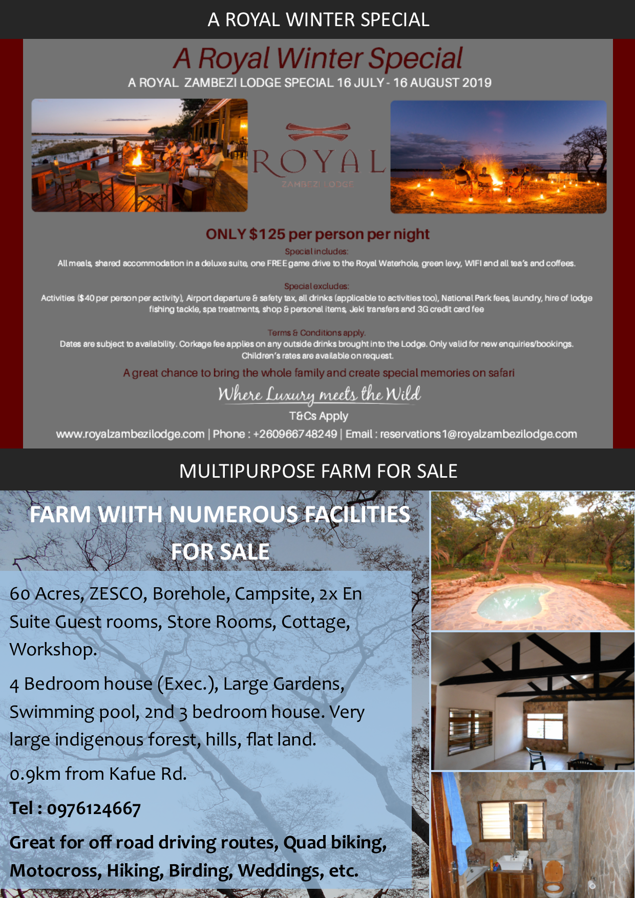 29 07 2019 - A ROYAL WINTER SPECIAL / MULTIPURPOSE FARM FOR SALE