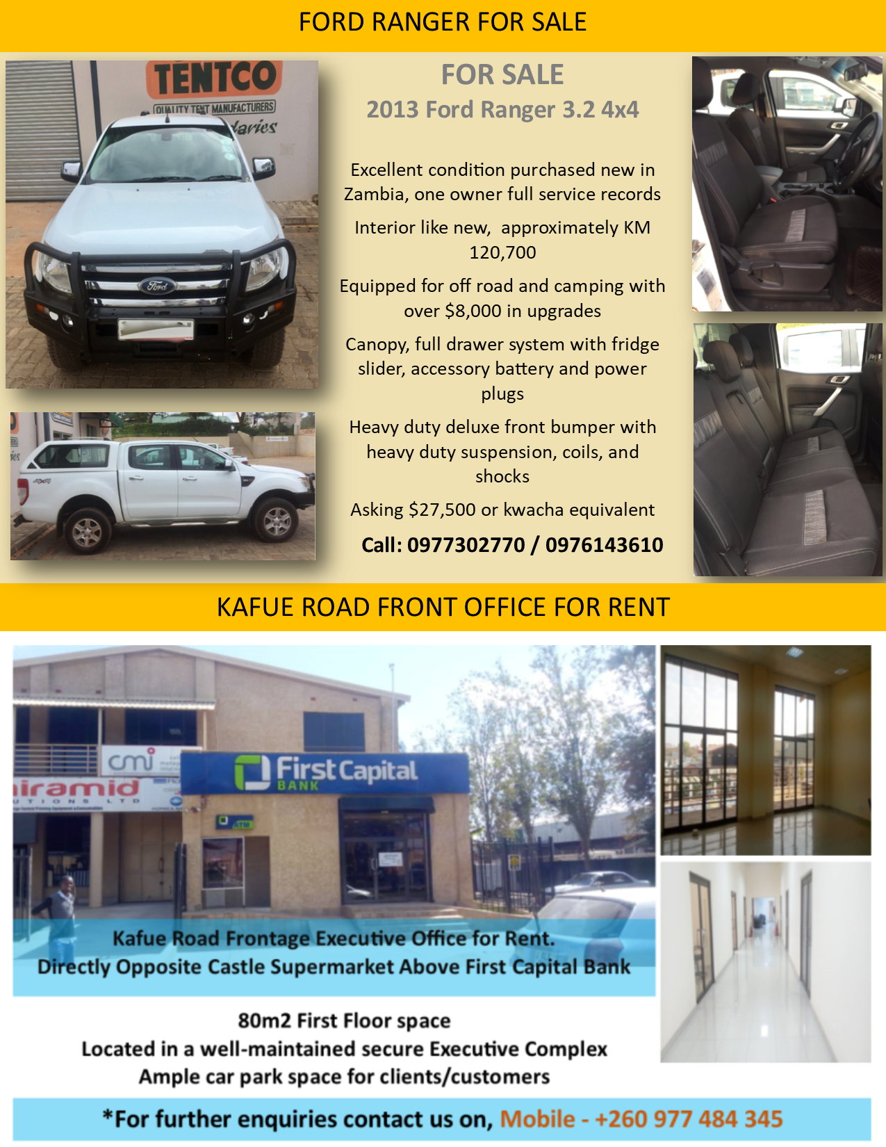 21 08 2019 - FORD RANGER FOR SALE / KAFUE ROAD FRONT OFFICE