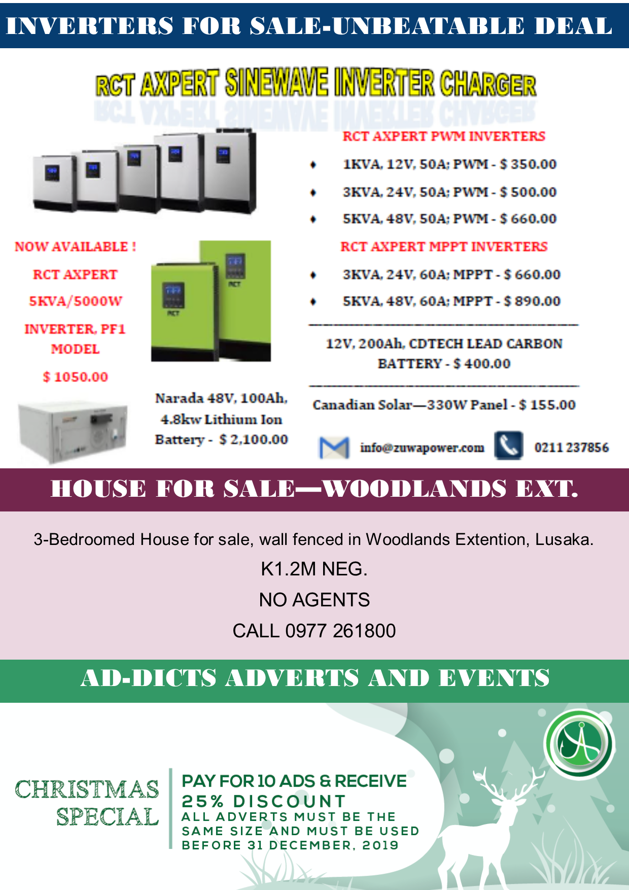Inverters For Sale >> 21 11 19 Ad Dicts Xmas Special Inverters For Sale